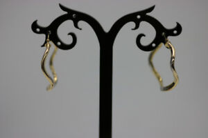 **WAVY** 10K Yellow and White Gold Hoop Earrings (#2003)