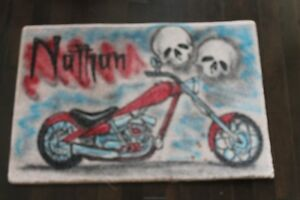 MOTORCYCLE AIRBRUSHED MAT WITH NAME NATHAN