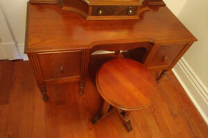 Antique makeup table /vanity + stool, Roncesvalles