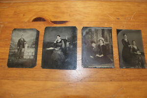 Lot of 4 Old Antique Tin Type Photographs
