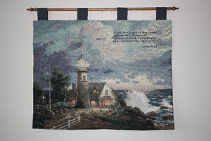 THOMAS KINKADE WALL TAPESTRY - LIGHT OF THE WORLD