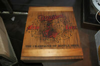 Vintage Miller High Life Beer Box Crate Cabinet Wood Girl In The