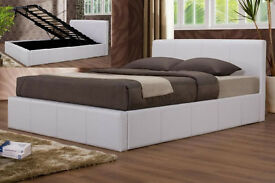 Double, Black, white leather bed, storage, ottoman lift up bed, with memory, spring ortho mattress.