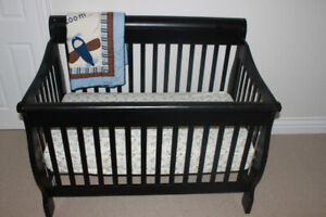 Bily Sidney Crib and Change Table/Dresser-Black