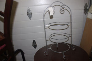 Silver Metal 3 Tiered Plate Server ( space saver on table )