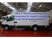 24 Hours Man & Van Removal Service £20 Loading & Unloading with Driver Help in London & UK