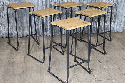 VINTAGE STACKING STOOLS LAB STOOLS WITH TIMBER SEAT