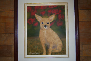 Lovely Framed Puppy Painting On Canvas Signed B. Couillard