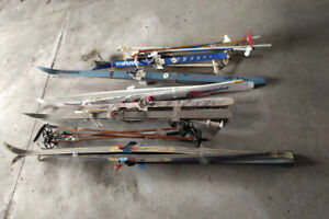 cross country ski, poles, boots