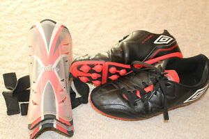 Junior Soccer Shoes & Shin Pads - $7obo/both