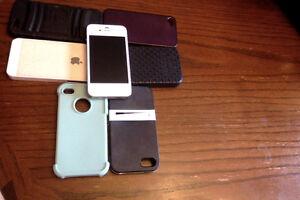 White I phone 4 plus acessories