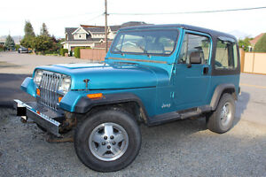 1992 Jeep YJ 4.0l, 6 cyl, with super low KMs