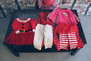 Girl's Christmas outfits, size 6 mos.