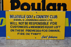 Handpainted Vintage Belleville Golf & Country Club SignNEW PRICE