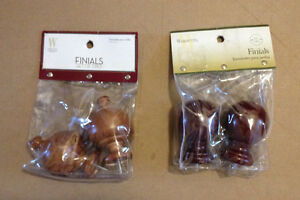 Curtain accessories: Wood Finials (2 sets)