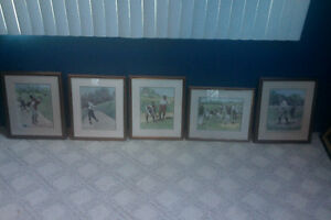 "Lot of (5) A.B. Frost ""Golfer"" Prints"