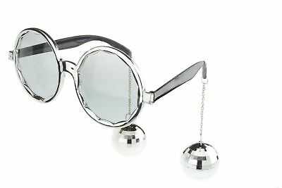 Round Party Sunglasses Novelty Glasses Disco Ball Mirror DJ Costume Silver  - Disco Ball Costumes
