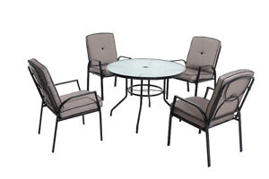 5 Piece Round Table 4 Chairs Cushioned Balcony Patio Dining Set