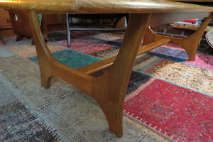 Oh my! mid-century walnut & glass coffee table w/ sculpted legs!