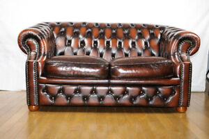 100 % leather Chesterfield sofa set, barely one year used