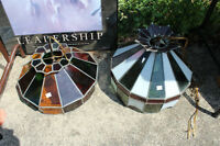 Two stained glass lamp shades