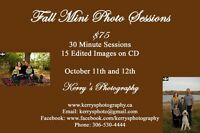 Fall family mini sessions $75 October 11 & 12