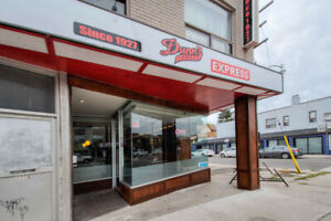 Dunn's Famous Express Franchise on busy  Danforth Ave, Toronto