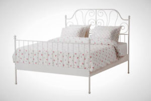 IKEA Leirvik  Queen Size White Metal Bed Frame