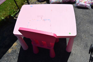 Ikea Children's Pink Table and Chair