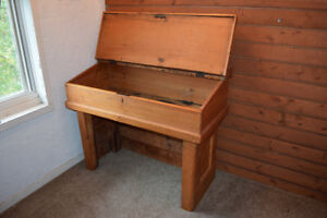 Antique Lift-Top Pine Desk