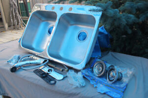 KINDRED DOUBLE SS SINK AND MOEN FAUCET EXCELLENT CONDITION.
