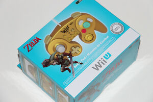 NINTENDO WII U+WII+GAMECUBE-HORI-MANETTE/CONTROLLER-GOLD LINK (NEUF/NEW) [VOIR/SEE DESCRIPTION]