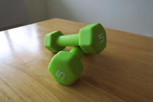 Two 5-pounds weights/ dumbells