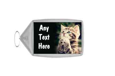Praying Kitten Personalised Keyring