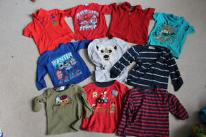 Lot of 10 Boys Tops Size 2, t-shirts and long sleeve shirts