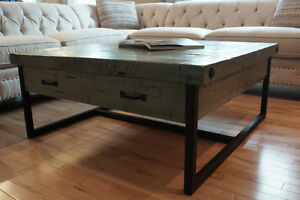 Reclaimed Wood and Iron Coffee Table by LIKEN Woodworks