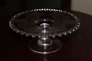 Vintage Hobnail Edged Small Pedestle Plate with Etched Roses
