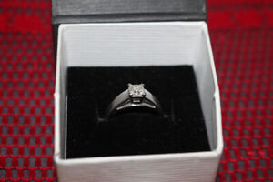 14k White Gold Princess Cut Diamond Solitaire Engagement Ring
