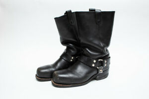 Men's real black leather motorcycle boots, steel toe, sz 8