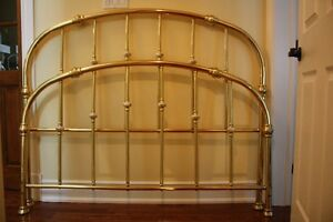 Brass and porcelain head and footboard