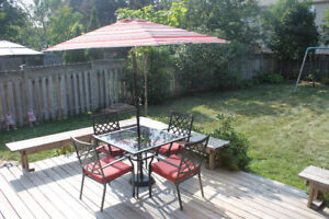 Patio Set - Table, 4 chairs with cushions, umbrella and base