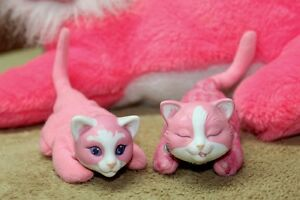 Kitty Surprise Pink & White Softy Mom & 2 Babies Vintage Hasbro Kingston Kingston Area image 4
