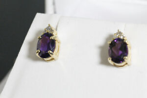BRAND NEW 14K. GOLD DIAMOND & AMETHYST STUD EARRINGS FOR SALE