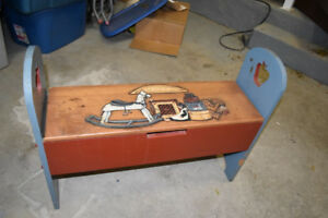 folk art bench with storage