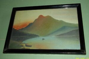 Vintage Framed Water Colour - Mountain and Boats