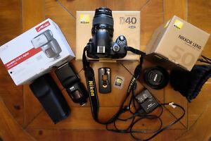 Nikon D40 Camera/Electronic Flash/50mm Lens