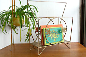 Mid Century Wire Metal Magazine Rack with Leaf Decoration