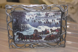 Metal Picture Frame with Winter Scene