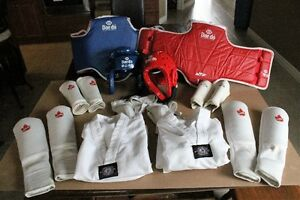 Tae Kwon Do pads, clothing, and helmets
