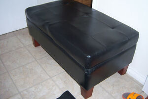 Black Leather Ottoman with Storage